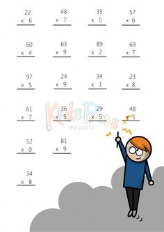 Two Digit Plus One Digit Addition    36 Questions  A  Math Worksheet     Multiplying 2 Digits by 1 Digit  4