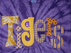 Women's LSU Tigers whimsical tie dye applique shirt. $32.00, via Etsy.