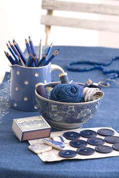 Indigo linen table cloth with blue sewing threads