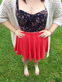 spring fashion: outfit details: bethany mota knit cardigan, bethany mota floral crop top, urban outfitters bright red orange circle skirt, American eagle sparkle gladiators