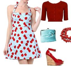 Halter style Aqua Red mini pinup dress, find here:http://stores.ebay.com/The-Stylish-Boutique/_i.html?_nkw=cherry+aqua=Search&_sid=544253133