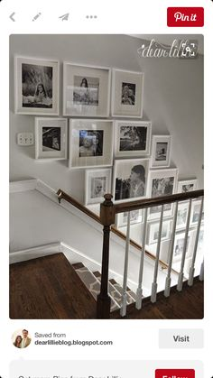 Staircase wall is often a cold corner overlooked by homeowners. But with a little creativity, your staircase wall can be transformed from an ignored area to an attractive focal point. The staircase wall is just like a blank canvas and you can displa Gallery Wall Staircase, Grand Staircase, Staircase Ideas, Picture Wall Staircase, Picture Frames On The Wall Stairs, Stairway Photo Gallery, Staircase Frames, Staircase Decoration, Banister Ideas