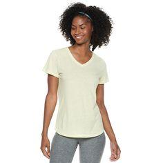 Women's Tek Gear® Essential V-Neck Short Sleeve Tee, Lt Yellow