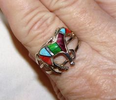 Estate Southwestern Inlaid Multistone Horse 925 Sterling Silver Ring 9.5 Vintage #Inlaid