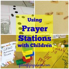 "How to Use Prayer Stations with Children is part of Teaching children To Pray - How do you help kids to pray more than rote words or ""God bless my puppy"" Prayer Stations are helpful to show kids ways to pray and to keep them focused Sunday School Kids, Sunday School Lessons, Sunday School Projects, Bible Activities, Church Activities, Group Activities, Preschool Bible, Group Games, Preschool Ideas"