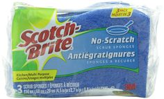 Amazon.com: 3M Scotch-Brite No-Scratch Multi-Purpose Scrub Sponge, 3 Count: Prime Pantry