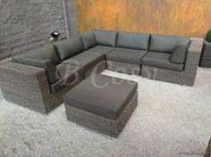 Gescova Azur Cavali Loungeset 2Pl+3Pr+Hoek+Salontafel Charcoal 280 ...