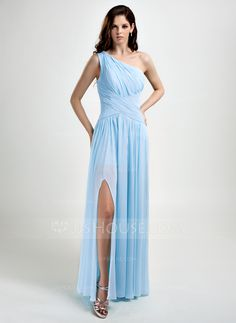 A-Line/Princess One-Shoulder Floor-Length Ruffle Split Front Zipper Up Regular Straps Sleeveless Sky Blue Spring Fall General Plus Chiffon Prom Dress