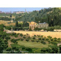 Cartão Postal Monte das Oliveiras em Jerusalém Grande Tamanho: 19 X 14 cm Papel Canson Exclusivo doCafetorahShop.com