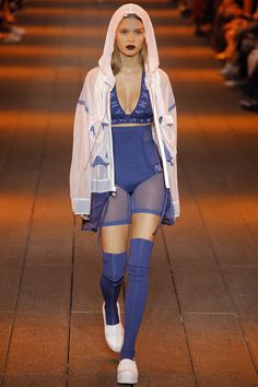 DKNY Spring Summer 2017 SS17 Ready-to-Wear collection - New York Fashion Week NYFW - Look 26: Blue logotipe DKNY top with jacket