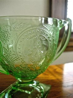 Green Sugar Depression Glass