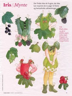 Iris & Mynte are two German woodland fairy paper dolls