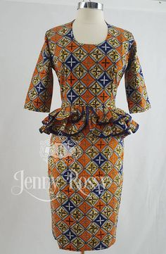 Chizzy Dress African clothing bias detail peplum body fit Midi dress Ankara fashionable quarter sleeve u_neckline dress