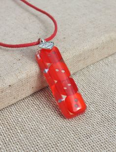 Resin Necklace  Red Button Pendant  Fire by TheMuckyPupGallery, £8.00