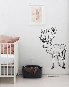 Happy Sketched Deer Woodland Nursery Wall Decal- pretty darn cool