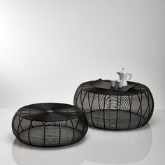 Set of 2 Bangor Low Round Steel Wire Tables La Redoute Interieurs - Home & Furniture Round Coffee Table Sets, Wire Coffee Table, Wire Table, Outdoor Coffee Tables, Bangor, Low Tables, Small Tables, Mesa Sofa, Home Furnishing Accessories