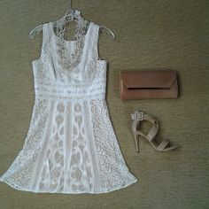 BCBG Kelly lace dress with nude lining, BCBG Helen satin clutch, seedbead and shell necklace, and Chinese Laundry Blackjack strappy sandal in nude.