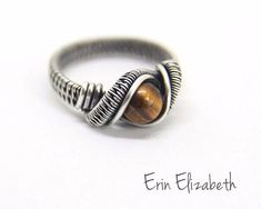 Tiger's Eye Ring bedwelmende draad gewikkeld sieraden