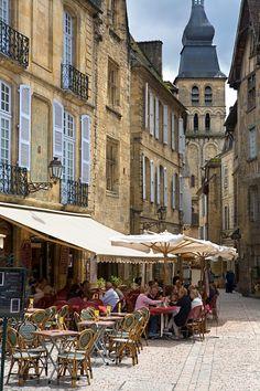 Cafe Scene, Sarlat, Dordogne, France
