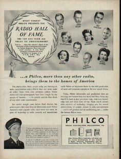 1944 Philco AD, Radio Hall of Fame Every Sunday ....