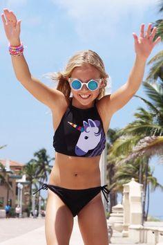 Hawaiian Beach Bathing Suit for Vacation Girls One Piece Swimsuits Unicorn Rainbow Butterfly Printing Swimwear