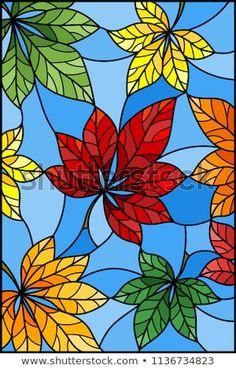 Vetor stock de Illustration Stained Glass Style Colorful Leaves (livre de direitos) 1136734823