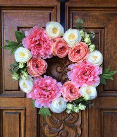 Spring Flower Wreath / Pink Wreath / Peach by SouleHomeDecor
