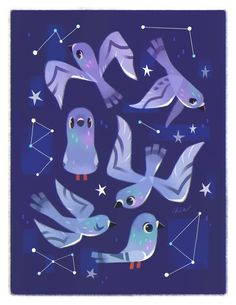 starry pigeys ✧ i'll have a few prints on my Etsy store, and at Rose City Comic Con this weekend. come visit if you're in Portland (table 1125) ~