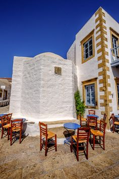 Cafe in Chora, Patmos Island, Aegean_ Greece Zorba The Greek, Al Fresco Dining, Out Of This World, Greek Islands, Shade Garden, Countryside, Scenery, Patio, Architecture