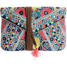 STAR MELA Jasmin Light Multi Embroidered clutch (295 BRL) ❤ liked on Polyvore featuring bags, handbags, clutches, accessories, purses, embroidered handbags, tassel clutches, boho handbags, summer purses and bohemian handbags