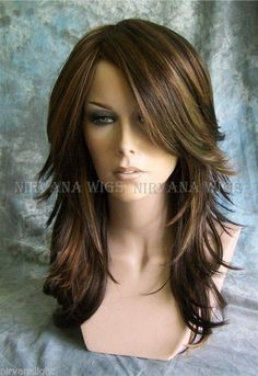 3Tone Brown with Auburn Tones highlights Long Layered Tarah Nirvana wig #Nirvanawigs #FullWig