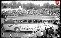 Benfica en route to their debut game at Stadio la Luz, 1954 School Football, Football Fans, Old Photos, Vintage Photos, Leeds United, Lisbon, Thing 1, World, Travel
