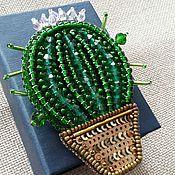 Украшения ручной работы. Ярмарка Мастеров - ручная работа Брошь ``Цветущий кактус``. Handmade.