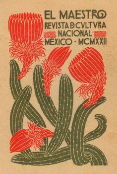 Art poster from Mexico, cactus flower, vintage graphic