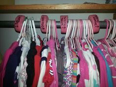 Pool noodle for dividers! Kids Clothes Organization, Household Organization, Pool Noodle Crafts, Garage Sale Tips, Baby Emily, Rummage Sale, Pool Noodles, Consignment Shops, Diy Storage