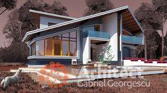 Casa cu etaj 61 | Proiecte de case personalizate | Arhitect Gabriel Georgescu & Echipa Flat House Design, Design Case, Home Fashion, House Plants, Floor Plans, Flooring, Mansions, House Styles, Outdoor Decor