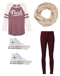 """""""Cute casual outfit"""" by madisenharris on Polyvore featuring maurices, 7 For All Mankind and Converse"""