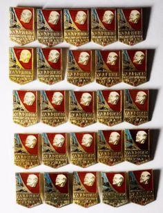Drummer communist labor Vintage Pin Badge Russian Soviet USSR, 25 pcs