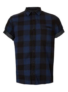 Blue And Black Buffalo Check Short Sleeve Shirt - Men's Shirts  - Clothing