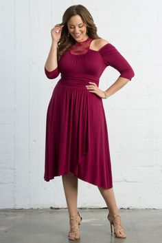 Our plus size Chloe Crochet Dress is feminine and gorgeous in a beautiful magenta. Shop our entire made in the USA collection and see more style inspiration online at www.kiyonna.com.
