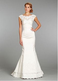 Stunning Satin Sheath Illusion Neckline Wedding Dress With Lace Appliques