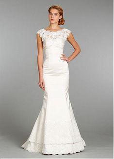 Stunning Satin Sheath Illusion Neckline Wedding Dress With Lace Appliques