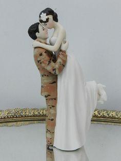 Military US Army Soldier Tan Camo   Wedding Cake Topper  sexy pose Bride uniform Kiss Lift