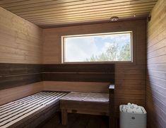 Myös rentouttavan saunan voi viimeistellä kauniilla ja valoisalla ikkunalla. 😊 #home #sauna #renovation #window #ikkunat #decor #inspiration Corner Bathtub, Alcove, Bathroom, Washroom, Full Bath, Bath, Bathrooms, Corner Tub