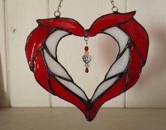 Red heart by LorinsStainedGlass on Etsy