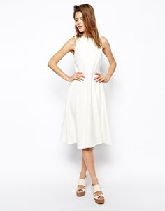ASOS Midi Skater Dress in Texture with High Neck http://www.asos.com/ASOS/ASOS-Midi-Skater-Dress-in-Texture-with-High-Neck/Prod/pgeproduct.aspx?iid=4174874&cid=15493&sh=0&pge=7&pgesize=36&sort=-1&clr=White