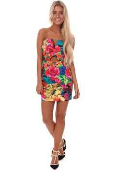 bd5d81aff261ee Lime Lush Boutique - Bright Floral V and Keyhole Front Mini Dress