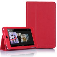 Supcase Google Nexus 7 Tablet Slim Fit Leather Case(Red) with Stand