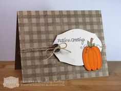 Market Street Stamps - Gingham Background, MSS-BK-18 and Autumn Greetings, MSS-26.  Card designed by Amy Kolling.