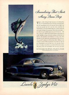 1941 Lincoln Zephyr V-12 Original Car Print Ad